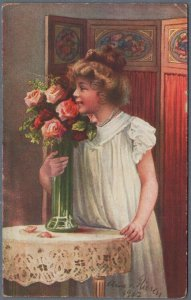 Old Postcard Small Girl in White Dress With Flowers Roses - by A. von Riesen