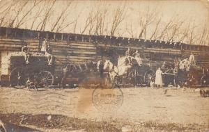 Collins Iowa~Farm Family~Crops Full Horse Wagons~Chicken Coop~Pigs~1908 RPPC