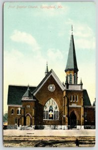 Springfield Missouri~First Baptist Church~Stained Glass Windows~Bell Tower~c1910