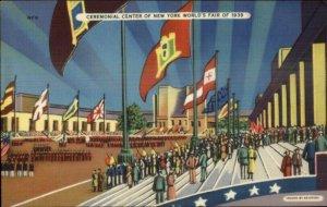 1939 NY New York World's Fair Ceremonial Center Linen Postcard