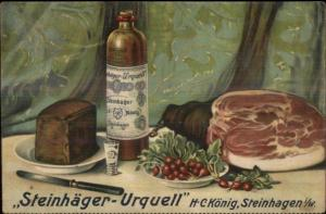 Food Alcohol Liquor Bottle Steinhager Urquell HC Konig Steinhagen Postcard