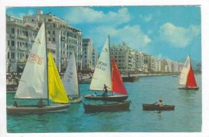 THESSALONIKI,  Sailing Ships Racing, Hotel-lined Coast, Greece, PU-1970