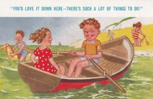 Ladies With Loads To Do On Rowing Boat Floating Sea Horse Comic Humour Postcard