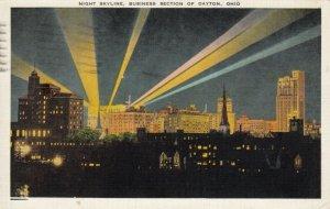 DAYTON , Ohio , 1930s-40s; Night Skyline, Business Section