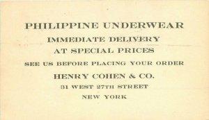 1921 Philippine Underwear Advertising Postcard Undivided New York 10970