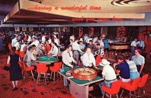 Gambling Casino Roulette Poker Las Vegas Nevada NV Interior View Postcard