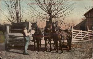 Missouri Valley IA Farmer & Horse Team c1910 Postcard