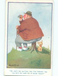 Pre-Linen Comic signed DONALD MCGILL - DOG SITTING IN SHADE OF FAT MAN AB9657