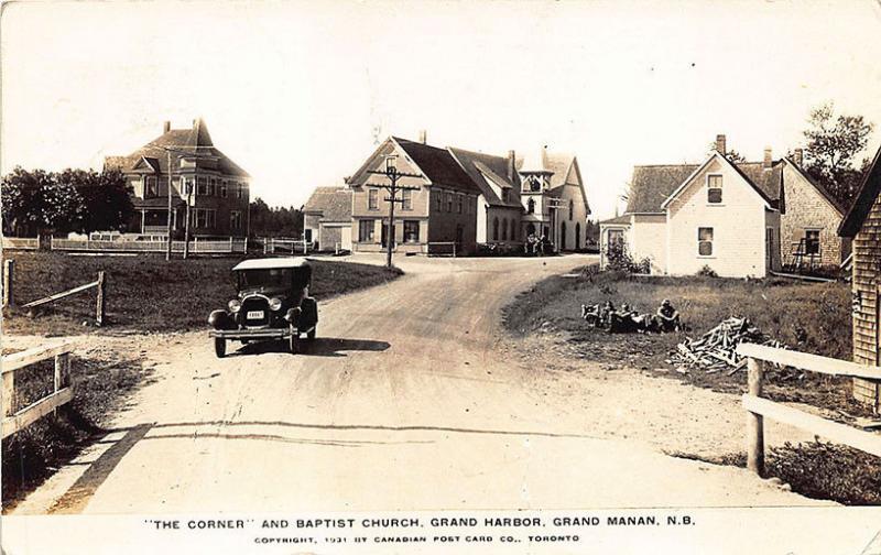 Grand Harbor Grand Manan N. B. Canada Street View Church Old Car RPPC Postcard