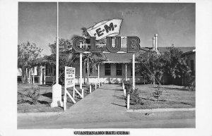 Guantanamo Bay *E*M* Club White Hat Club Real Photo Postcard
