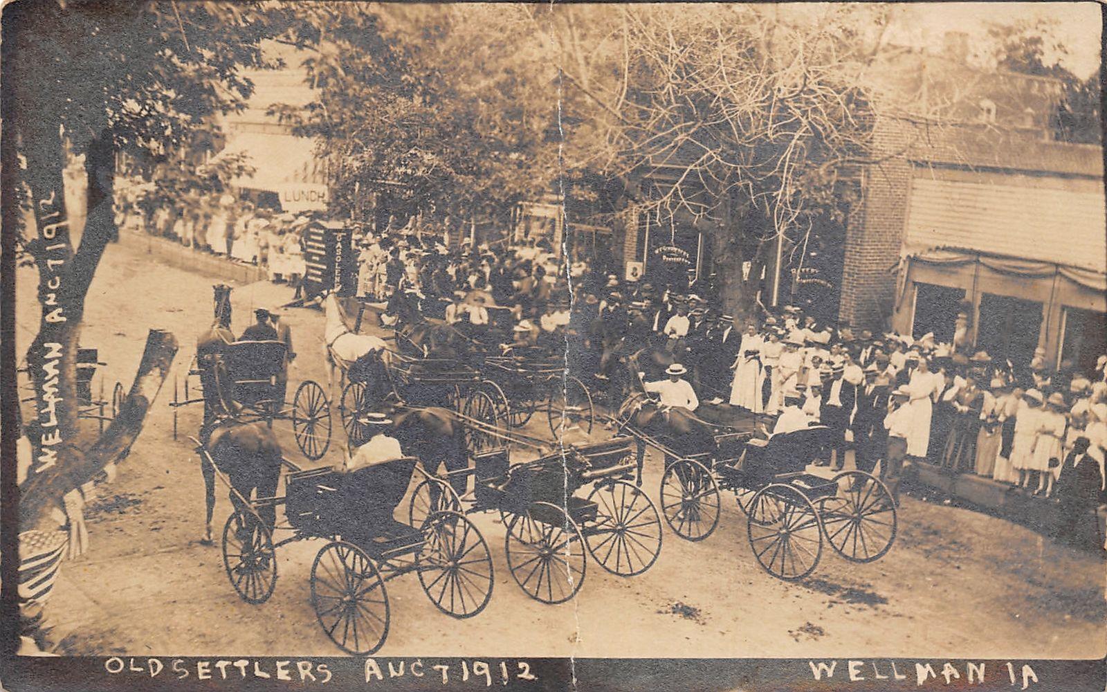 Wellman Iowa Old Settlers Parade Horse Rigs Gasoline Pump Crowd 1912