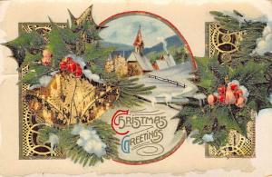 Christmas Post Card Old Vintage Antique Xmas Postcard Damaged 1911