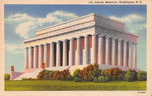 Lincoln Memorial, Washington, D.C., Early Linen Postcard, Used in 1956