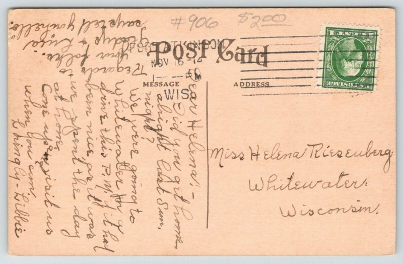 Fort Atkinson Wisconsin~High School~View from Across Street~1914 Postcard