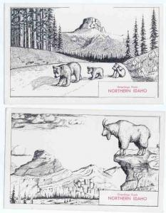 Two Cards, Drawings of Animals Greetings from Northern Idaho, ID