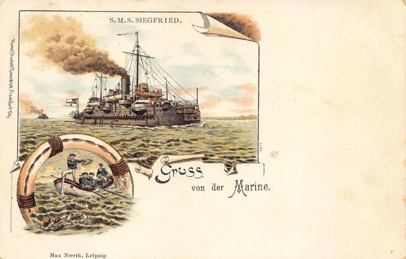 Gruss von der Marine Germany S. M. S. Sirgfried Pioneer Postcard