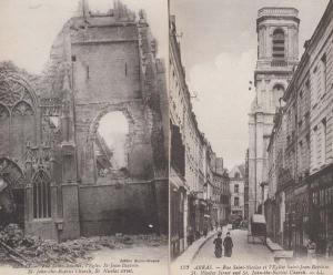 Arras France St Jean Baptiste Church Bomb Damage WW1 2x Military Postcard s