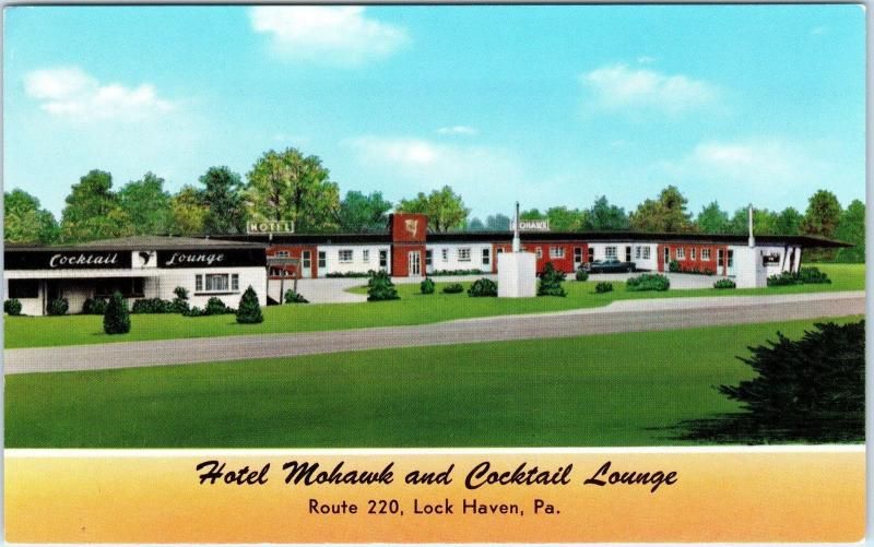 Lock Haven Pa Pennsylvania Hotel Mohawk Bar C1950s Car Roadside Postcard