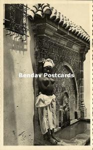 morocco, Living Bronze decorating a fountain, Topless Nude Girl (1950s) RPPC