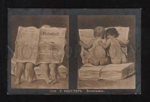 057515 Babies BOY w/ Newspaper by ROESSLER old