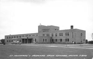 Sauk Centre Minnesota~St Michael's Hospital~Classic Car in Drive~1940s RPPC