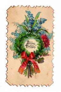 Victorian 2 1/2 X 4inch. Calling Card, Souvenir of Friendship, Name Walfield