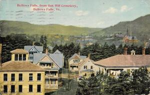 Bellows Falls Vermont~Town View From Oak Hill Cemetery~Houses~1913 Postcard