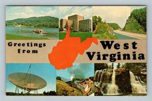 WV Banner Greetings, Blackwater Falls Cass Railway Chrome West Virginia Postcard