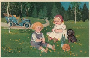 Toddlers and dachshund taking a break next to automobile, 1900-10s; PFB 7318