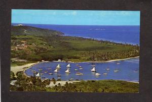PR Las Croabas Beach Harbor Sailboats nr Fajardo Puerto Rico Postcard