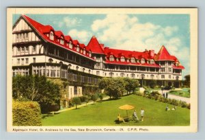 St Andrews By The Sea NB New Brunswick Canada, Algonquin Hotel, Linen Postcard