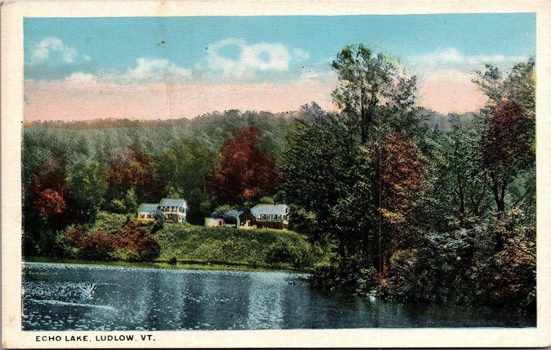 Homes on Shore of Echo Lake, Ludlow Vermont Vintage Postcard K07