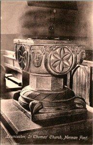 Launceston St Thomas Church Norman Font Postcard unused 1920s