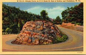 West Virginia Hairpin Curve On U S Route 50 East Of Grafton and Clarksburg Cu...