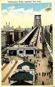 NY - New York City. Williamsburg Bridge Approach    (creases, stain)
