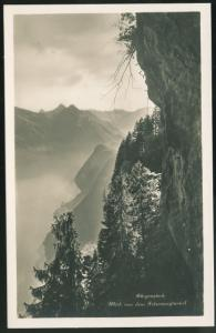 Switzerland Burgenstock View from Felsenweg tunnel Alps Vintage RP Postcard