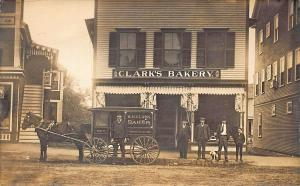 Springvale ME Clark's Bakery Horse & Wagon Real Photo Postcard