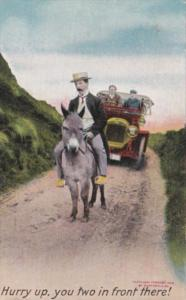 Bamforth Humour Car Behind Man Riding Donkey Hurry Up You Two In Front There ...