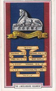 Cigarette Cards Gallaher ARMY BADGES No 45 The Lincolnshire Regiment