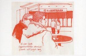 Red Cold Lines Stockholm Sweden Swedish Sketch Painting Postcard