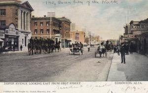 EDMONTON, Alberta, Canada, PU-1907; Jasper Avenue Looking East from First Street