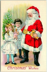 Vintage CHRISTMAS Wishes Postcard SANTA CLAUS Giving Doll to Girl - STECHER