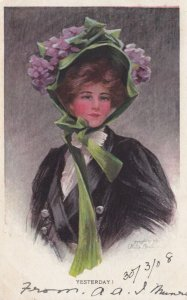 AS: Yesterday Boileau, PU-1908; Woman wearing flower bonnet