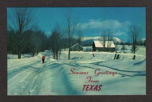 TX Seasons Greetings from TEXAS Postcard PC Snow