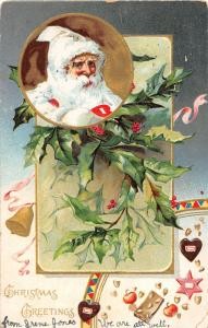F5/ Santa Claus Merry Christmas Holiday Postcard c1906 White Suit Holly 25