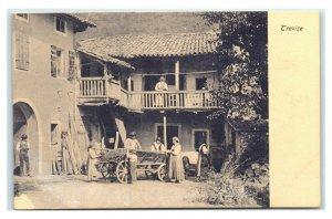 Postcard Trevise France - family w/children around wagon wheel cart I16