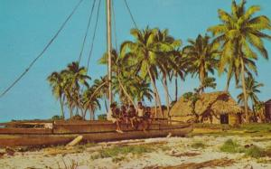 Fijian Koro Fiji Canoe Canoes Village Life 1970s Postcard
