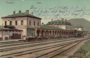 PREDEAL, Romania, 1909; Gara., People at the Railroad Station