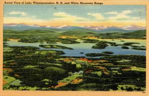 NH - Lake Winnipesaukee. Aerial View and White Mountains in the Distance