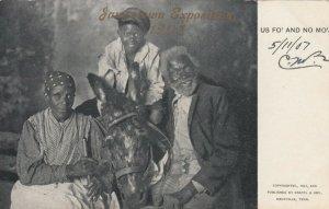 JAMESTOWN , Virginia, 1907 ; Black Family & Donkey , US FO' AND NO MO'